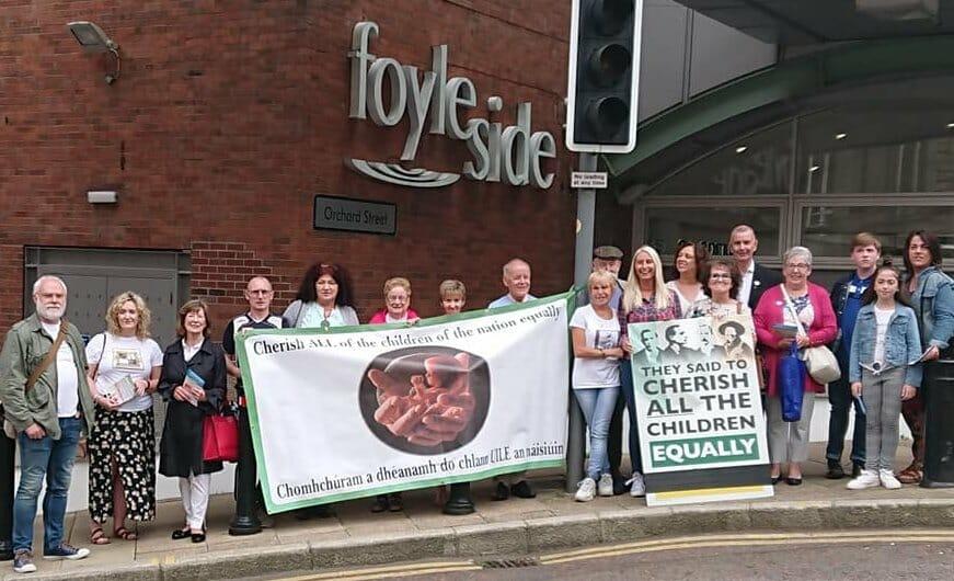 Aontú protest slams Sinn Féin's support for direct rule from Westminster on abortion