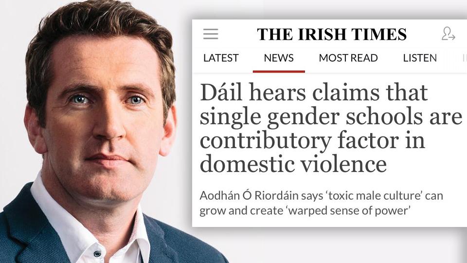 O'Riordan: Boys in all-boys schools grow up to beat women