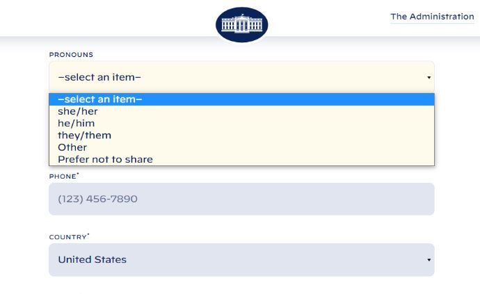 Biden's White House website now asks for preferred pronouns