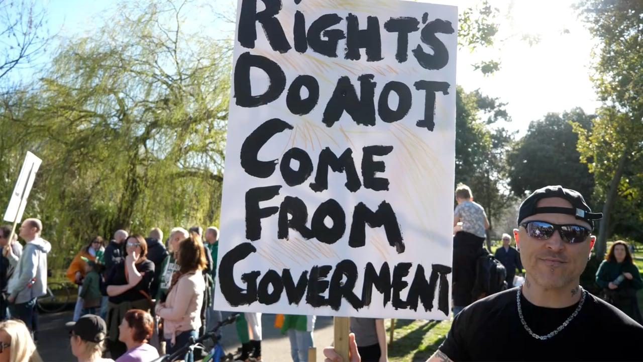 Scenes from the Dublin Protest Opposing the Lockdown in the Herbert Park – Saint Patrick's Day
