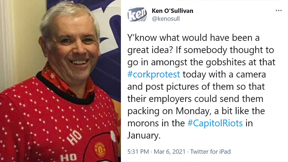 """""""SEND THE GOBSH*TES PACKING"""" – LMFM radio presenter wants Cork protesters fired"""
